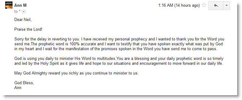 Testimonials From Monthly Personal Prophetic Words