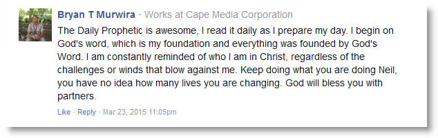 Daily Prophetic Word Testimonial